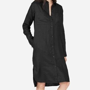 Everlane black linen shirt dress 6